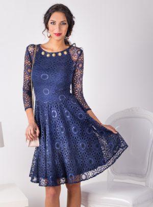 рокля синя дантела