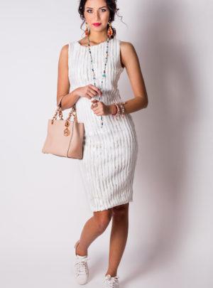 рокля паети бяла