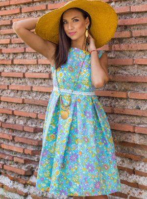 рокля  лен ,тюркоаз цветенца